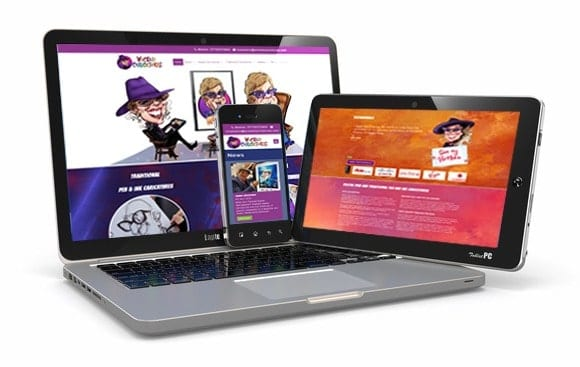 Wicked Caricatures - website design by Blue Dolphin Business Development