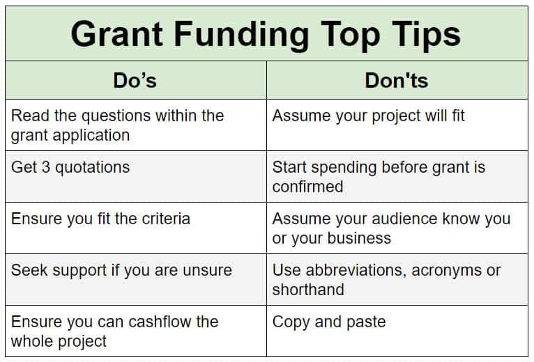 grant funding top tips