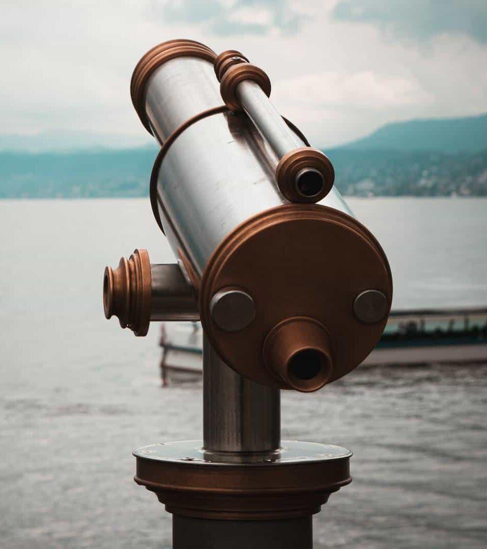 EO website marketing blue dolphin telescope looking to sea