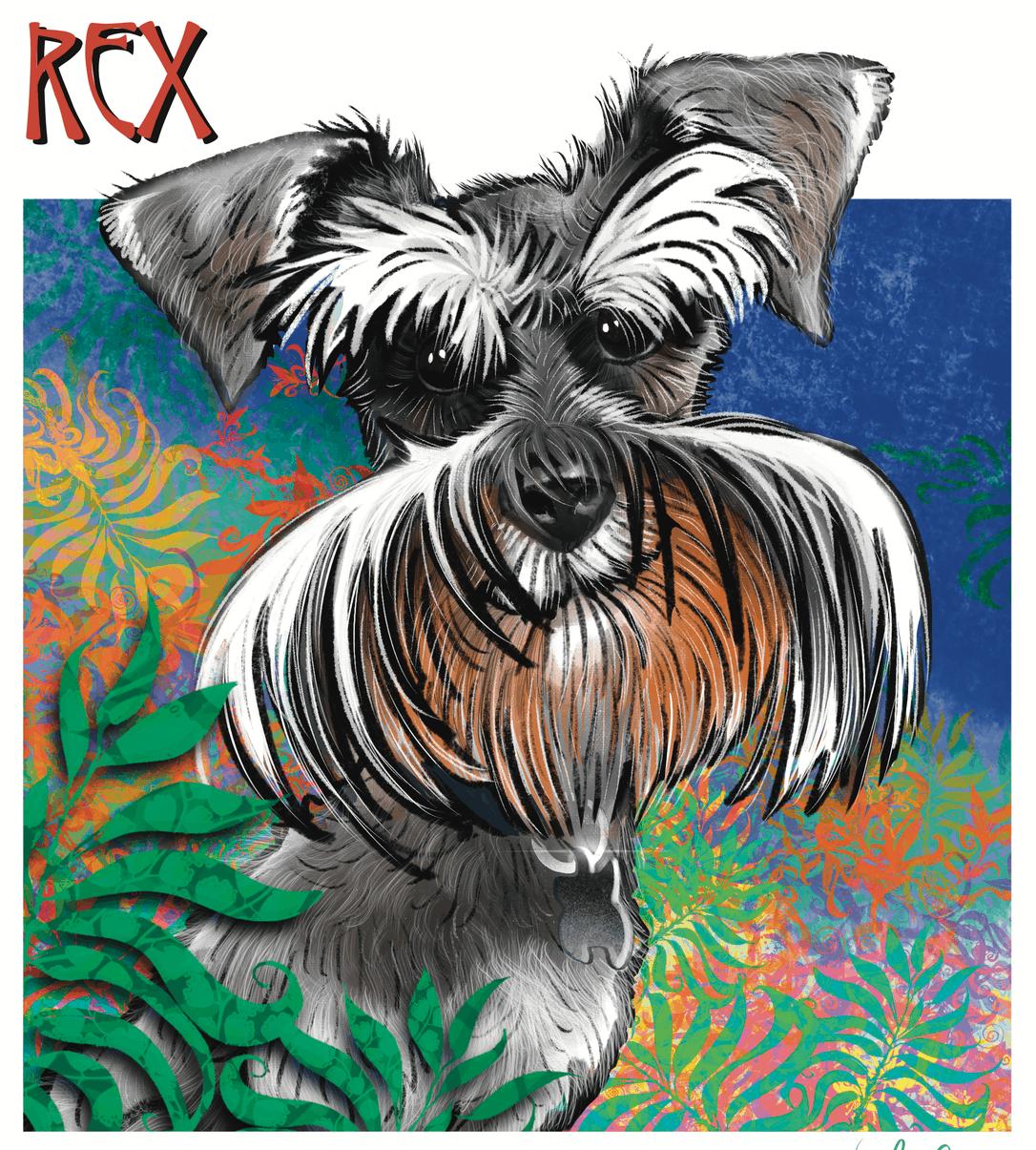 Rex The Dog Digital Caricature Blue Dolphin Website Design Peterborough