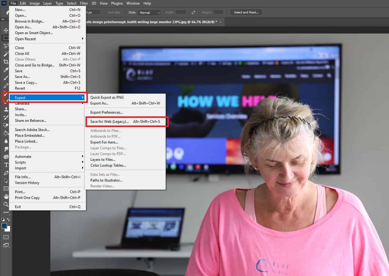 adobe photoshop how to optimise images web design blue dolphin website design